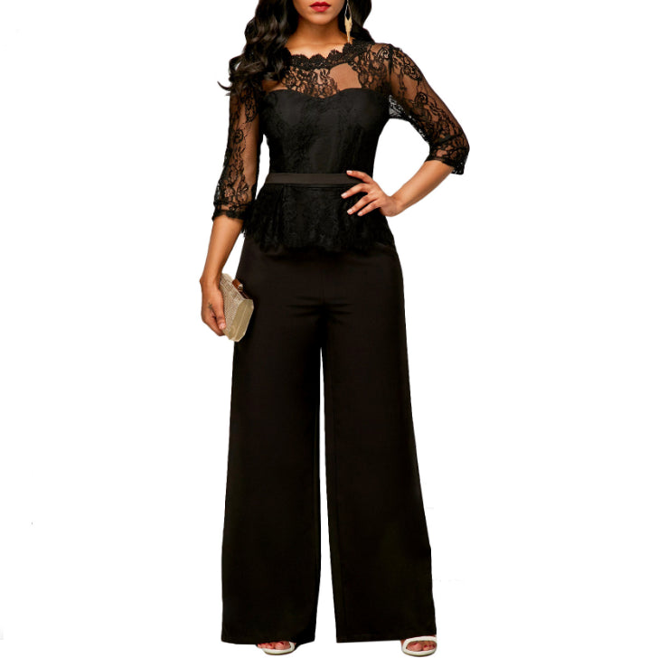 11e9a830cc38 New Women Jumpsuits 2018 Spring Summer Sexy Lace Jumpsuit Office Work  Fashion Ruffles Plus Size 2XL Long Straight Jumpsuits Red
