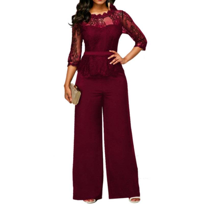 New Women Jumpsuits 2018 Spring Summer Sexy Lace Jumpsuit Office Work  Fashion Ruffles Plus Size 2XL Long Straight Jumpsuits Red 8a2639ac4c08