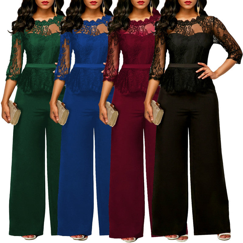 b7312439ee9 New Women Jumpsuits 2018 Spring Summer Sexy Lace Jumpsuit Office Work  Fashion Ruffles Plus Size 2XL Long Straight Jumpsuits Red
