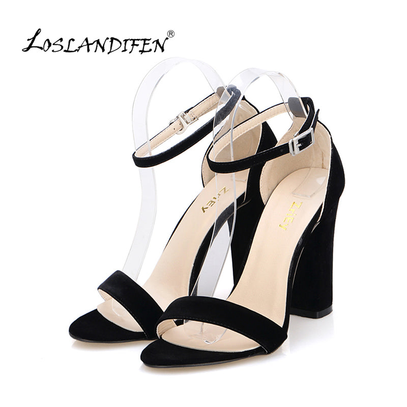 c4ae582f8c5 Newest Women Pumps Open Toe Sexy Ankle Straps High Heels Shoes Summer  Ladies Bridal Suede Thick Heel Sandals 368-1VE