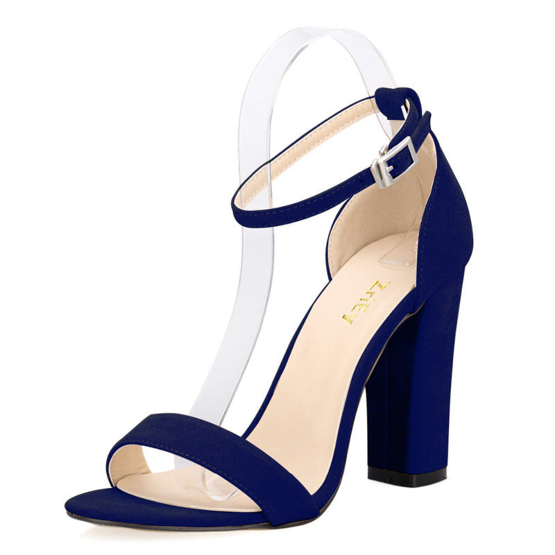 4862ef91b92c Newest Women Pumps Open Toe Sexy Ankle Straps High Heels Shoes Summer  Ladies Bridal Suede Thick