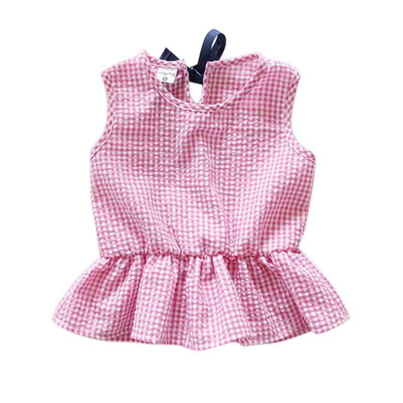 93e0e64a2 Plaid Baby Girls Clothes Set Cotton Suit Set Clothing Ruffles Vest ...