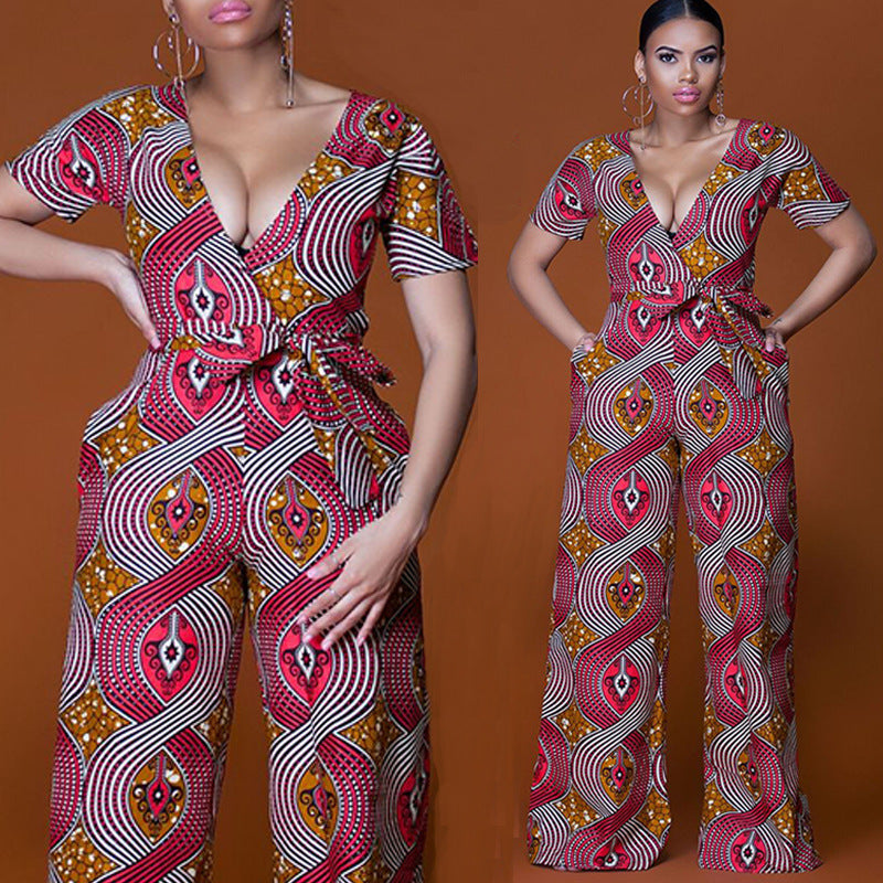 b720e0573c40 Plus size 2018 Summer Wide Leg Pant Women Rompers Jumpsuits African Print  Clothing Casual Sexy Deep V neck tunic party overalls