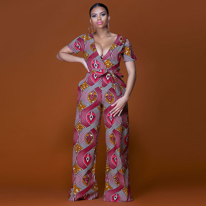 e304bd807407 Plus size 2018 Summer Wide Leg Pant Women Rompers Jumpsuits African Print  Clothing Casual Sexy Deep V neck tunic party overalls