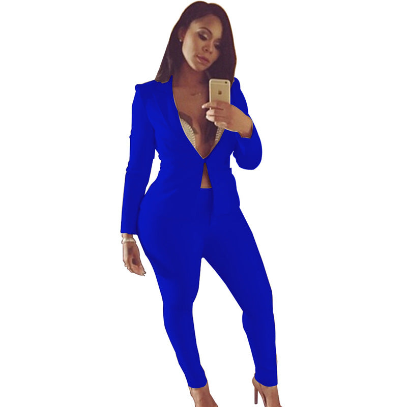 a8ff7fc7fb7 Plus size SEXY BLACK blue palazzo pants jumpsuit deep v neck Skinny two  piece romper clubwear fashion nova Party bandage outfit