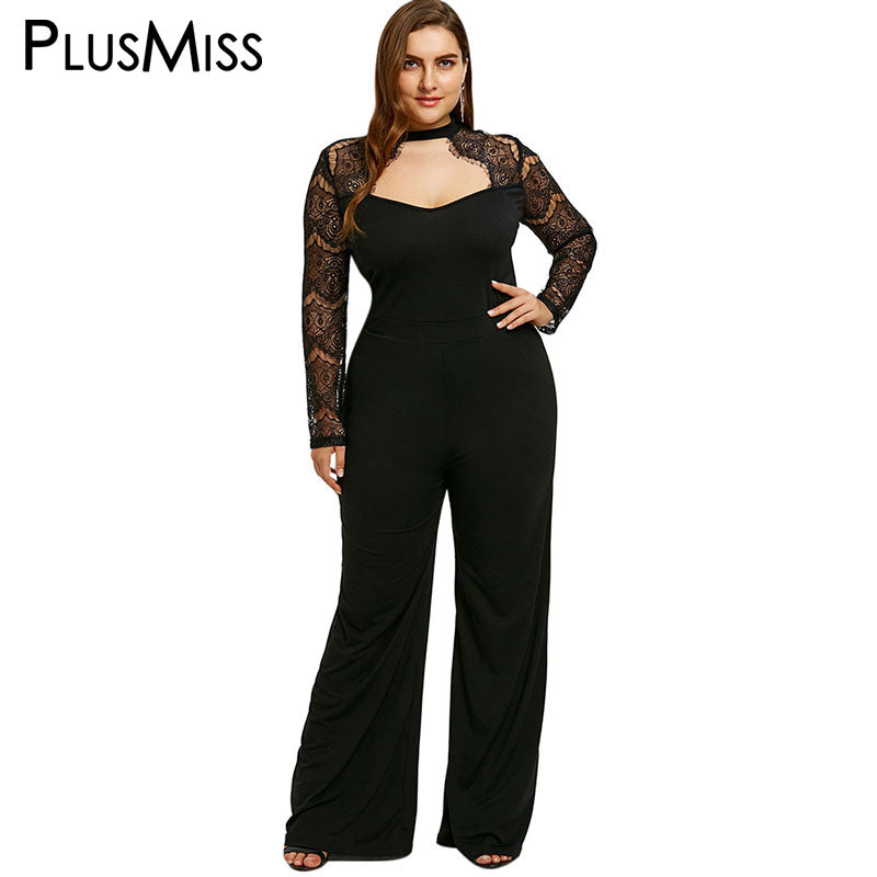 e04d92a70 PlusMiss Plus Size 5XL Sexy Lace Backless Jumpsuit Romper Women Clothing  Work Black Long Pants Party Jumpsuit Macacao Feminino