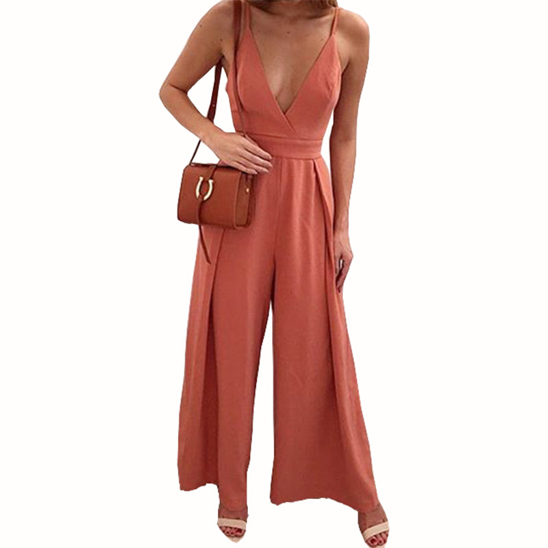 e19bc5a4bce Sexy Blackless Bow Deep V-Neck Spaghetti Strap Jumpsuits Solid Summer Women  Jumpsuit Fashion Wide Leg Pants 2018 Plus Size GV282