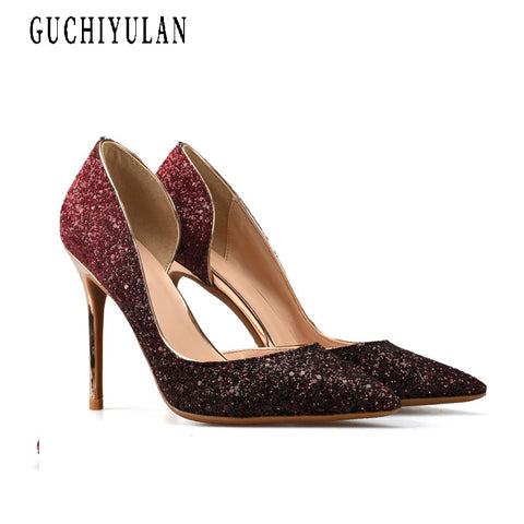 2e0134c4bc1756 Sexy High Heels Woman Pointed Toe Pumps Gold Crystal Rhinestone Lady Party  8cm 10cm 6cm Heeled Dress Shoes ladies Plus Size