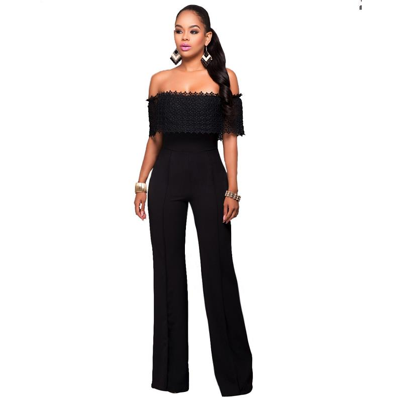 2099b128f04a Slash Neck Plus Size Women Stright Loose Elegant Work Rompers Full Length  Overalls Sexy Brand New Fashion Jumpsuits Black White