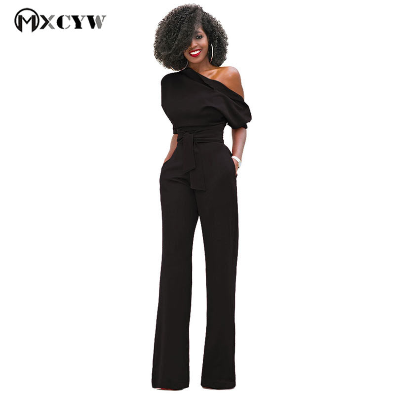bdb19edd59 Solid Slim Strapless Playsuits Sexy Femme Body Bodysuit Stylish Elegant  Wide Leg Red Black Jumpsuit Romper For Women Plus Size