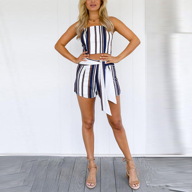 9ac350ae190c Summer Sexy Women s Sets Striped Blue 2 Pieces Set Crop Top And Lace-up  Shorts