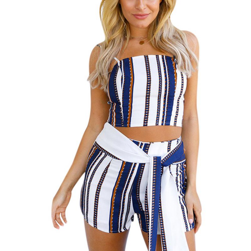 d900cf8e9a56 Summer Sexy Women s Sets Striped Blue 2 Pieces Set Crop Top And Lace-up  Shorts Elastic Waist Two Piece Set Women Clothes