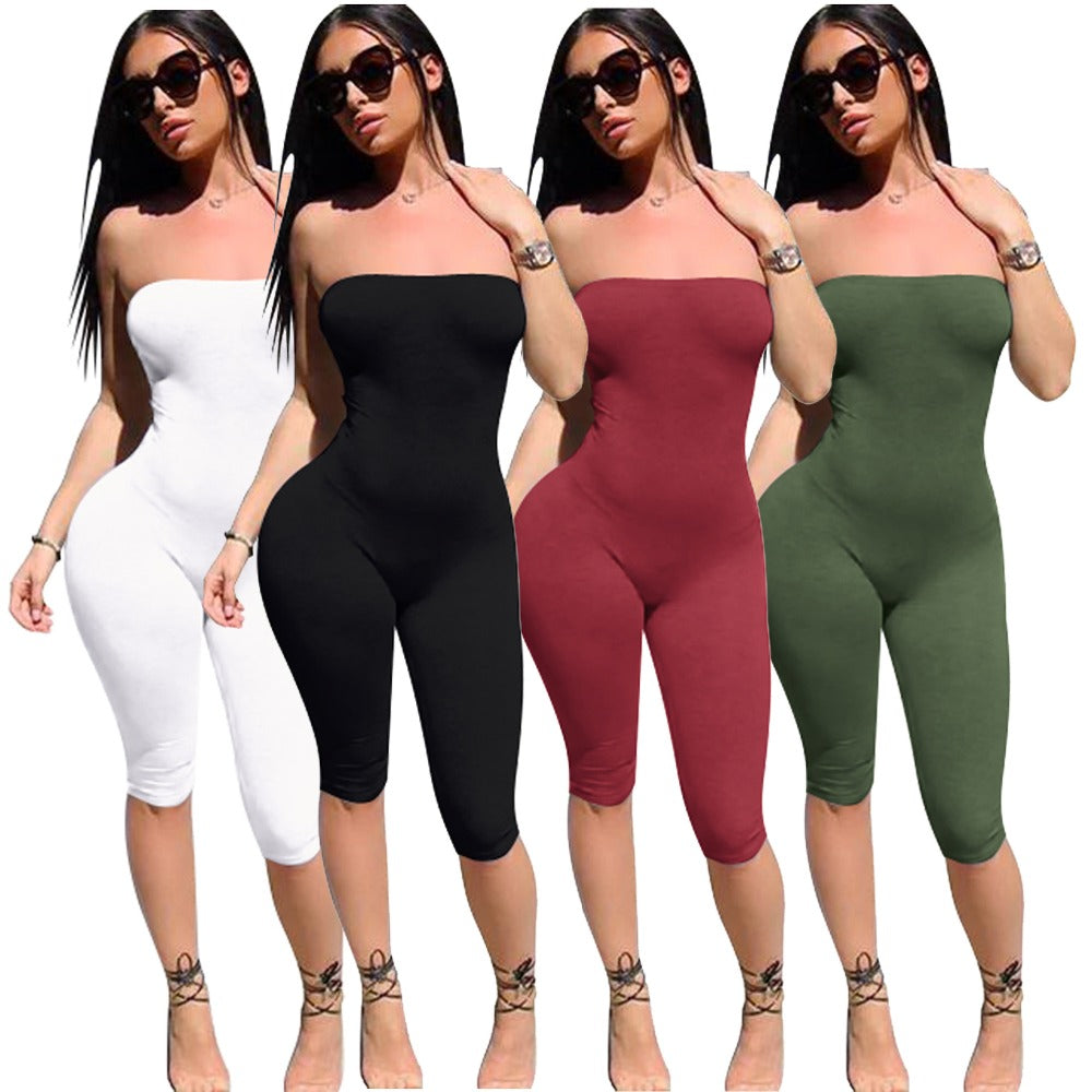 599573daf59 Summer Women s Solid Strapless Jumpsuit Sexy Fashion High Waisted Skinny  For Ladies Party Clubwear Plus Size S-XL Playsuits
