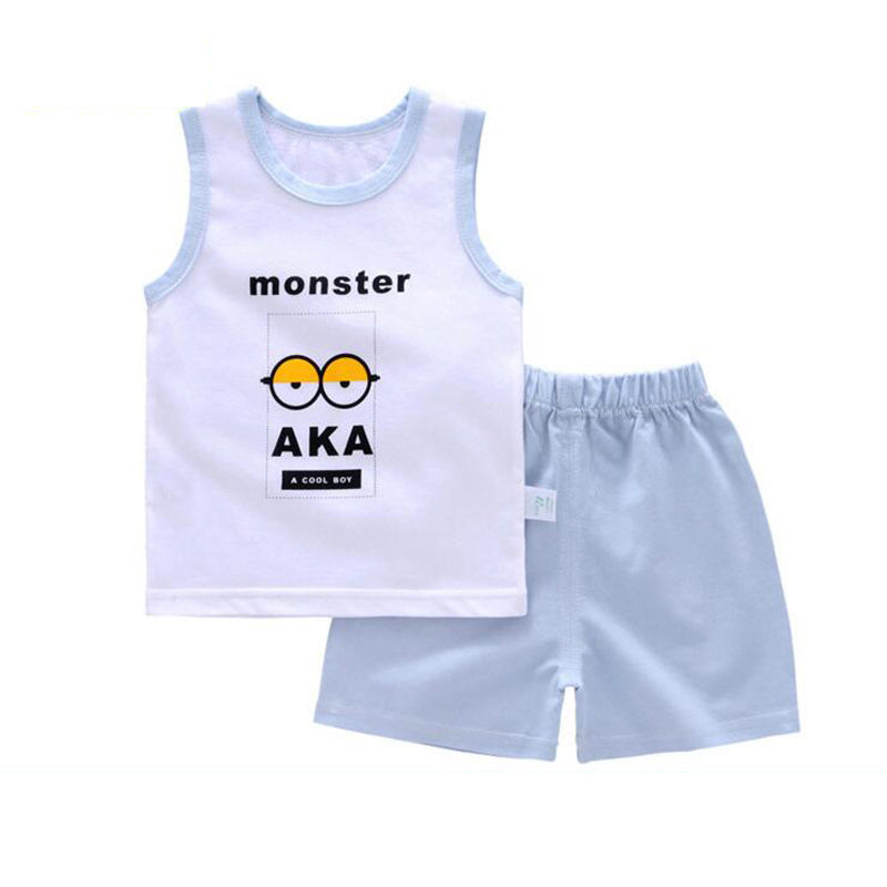 4ae32f12b79e Summer children clothing Sleeveless Tops+Pants 2pcs set Toddler baby ...