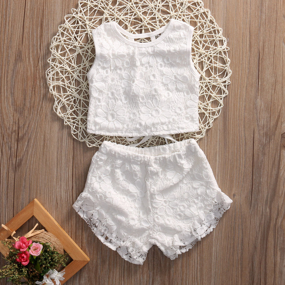 4f4b75f78433 Toddler Baby Girls Clothes Kids Summer Floral Lace Sleeveless Tops Shirt Shorts  Outfits Set girl Clothing