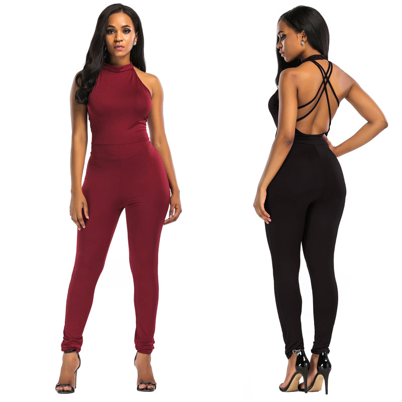 d3be8d4eaf11 Women s SexyBackless Halter Bodycon Club Catsuit Romper – Ginavece s