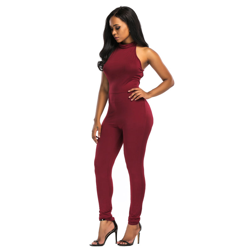 c0d22c128c Women s SexyBackless Halter Bodycon Club Catsuit Romper – Ginavece s