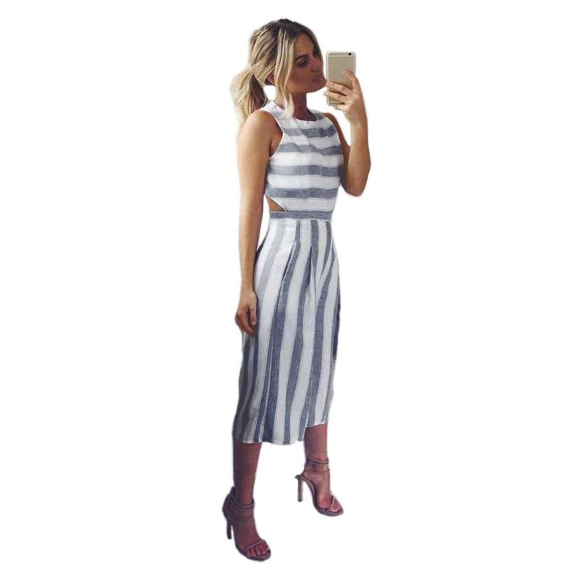16adf54062e Women Stripes Jumpsuit Casual Hollow Out Round Neck Sleeveless Bodysuit  Sexy Elegant Rompers PLUS SIZE S-XL