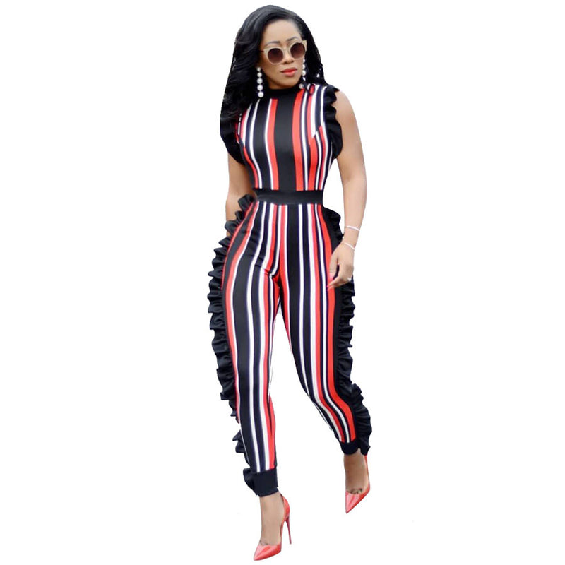 2fec56c052b Women s Sexy Stirped Flounce Plus Size Jumpsuits Full Length Straight  Sleeveless Casual Jumpsuits 5 colors