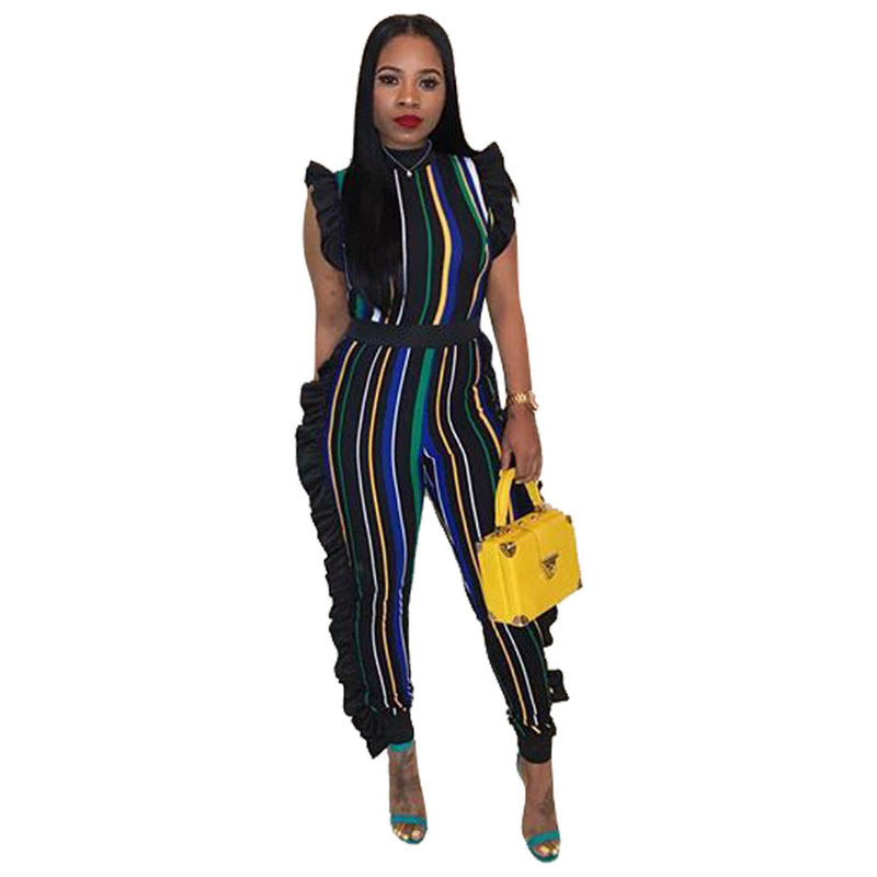 cfccd147a99 Women s Sexy Stirped Flounce Plus Size Jumpsuits Full Length Straight  Sleeveless Casual Jumpsuits 5 colors