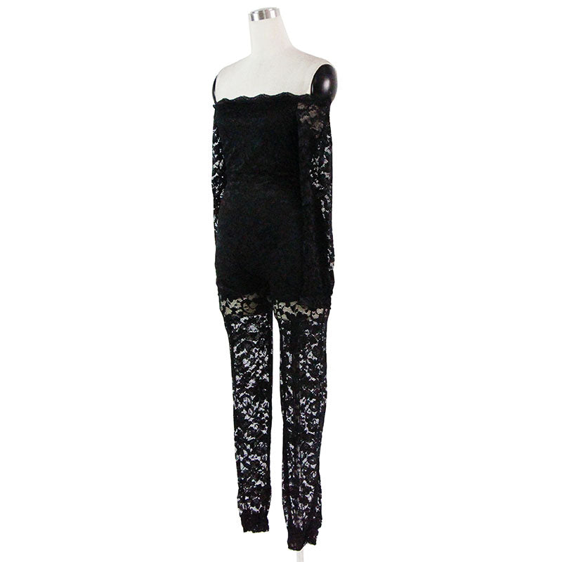 67007a26eb41 Wonder beauty Sexy Black Full Lace Jumpsuit Elegant Off Shoulder macacao  feminino Leotard Long Overalls Plus Size Party Jumpsuit