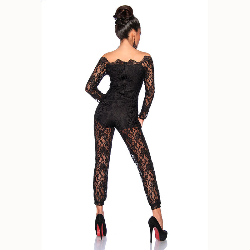 4daf17b79 Wonder beauty Sexy Black Full Lace Jumpsuit Elegant Off Shoulder macacao feminino  Leotard Long Overalls Plus Size Party Jumpsuit