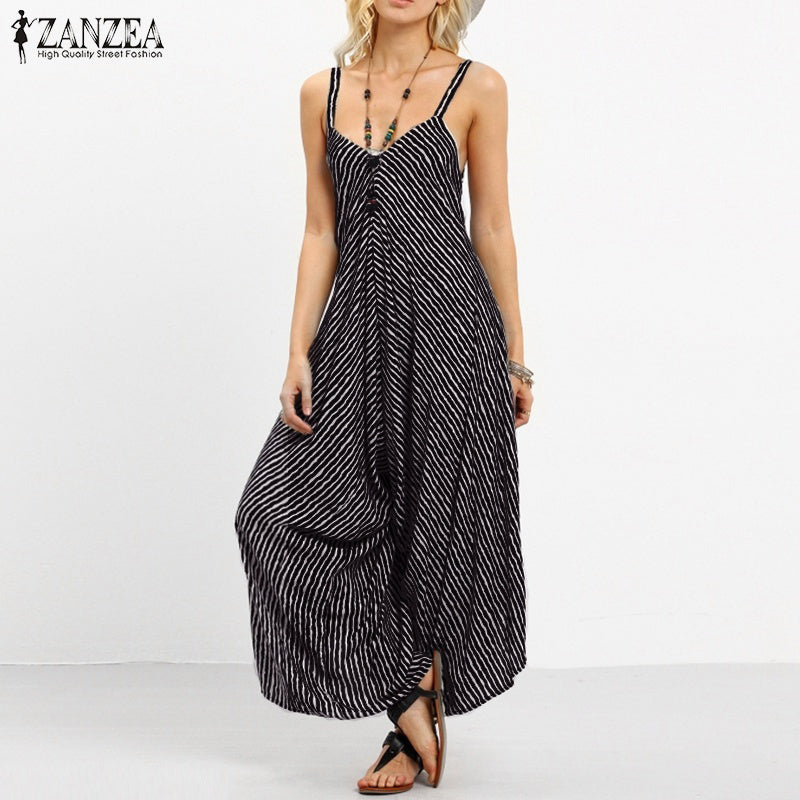 6f1c11a8b19 ZANZEA Brand Rompers Womens Jumpsuit 2018 Summer Fashion Striped Long  Playsuits Casual Loose Sexy Backless Plus Size Overalls