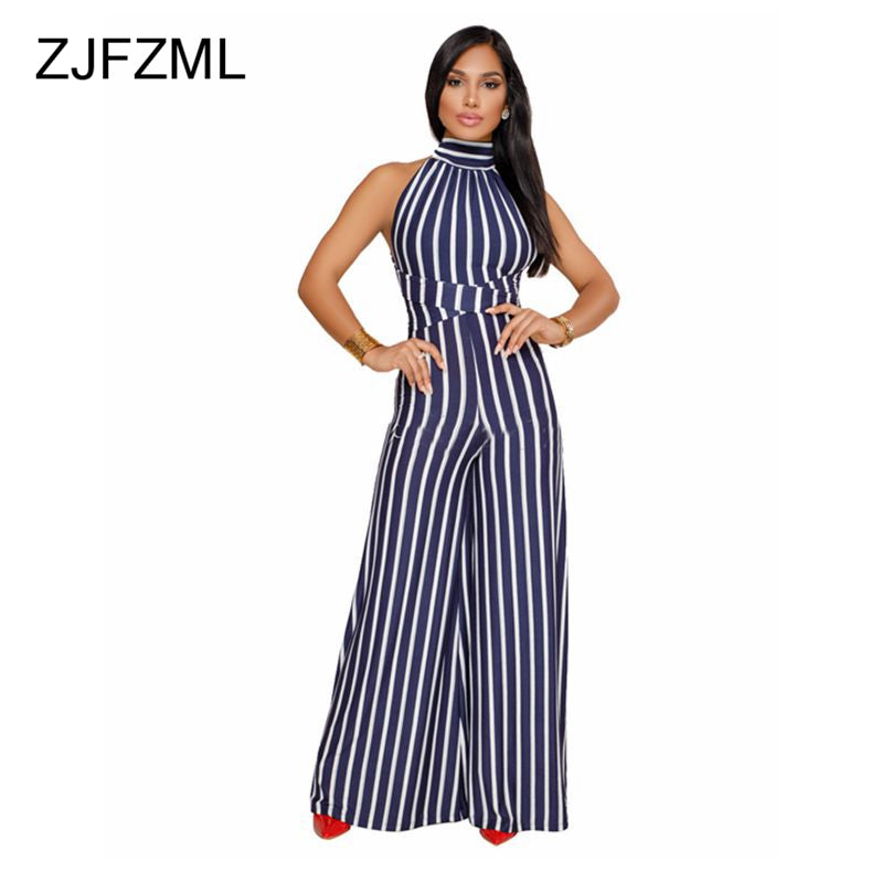 f1bf76e74b1 Striped Wide Leg Halter Backless Sexy Causal Rompers – Ginavece s