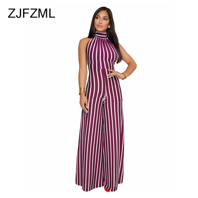 08fc4eb76b1 Striped Wide Leg Halter Backless Sexy Causal Rompers – Ginavece s