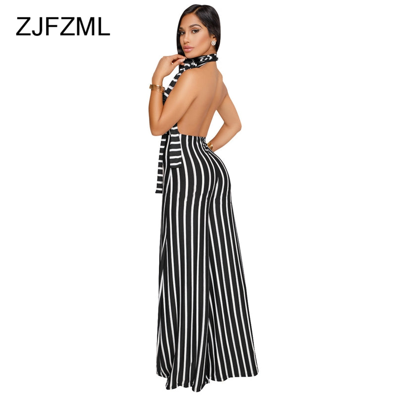 71053b055f0 Striped Wide Leg Halter Backless Sexy Causal Rompers – Ginavece s