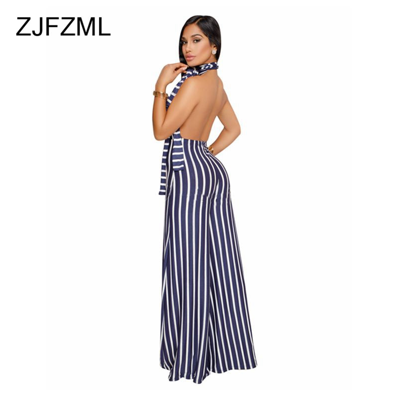 502e8f8b3e2 Striped Wide Leg Halter Backless Sexy Causal Rompers – Ginavece s