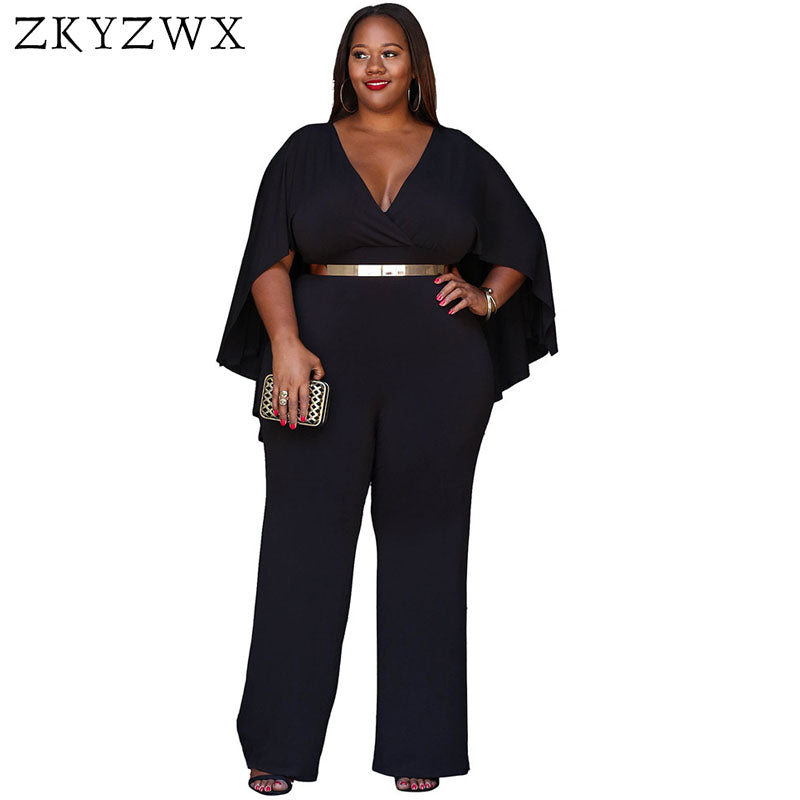 bc61c11bdd73 ZKYZWX 2017 Sexy Elegant Women Jumpsuit Summer Long Pants V Neck Cloak  Bodysuit Rompers 2017 Loose Casual Plus Size Jumpsuits