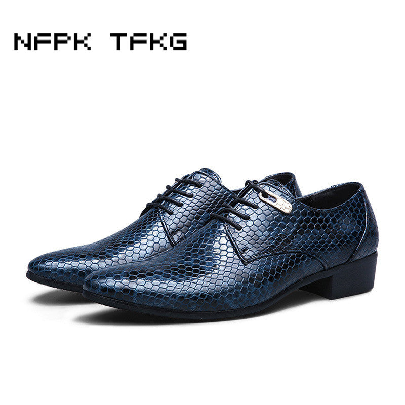 c88f20213db1 men s fashion business wedding dress snake print genuine leather shoes  casual pointed toe flats shoe oxfords party footwear man
