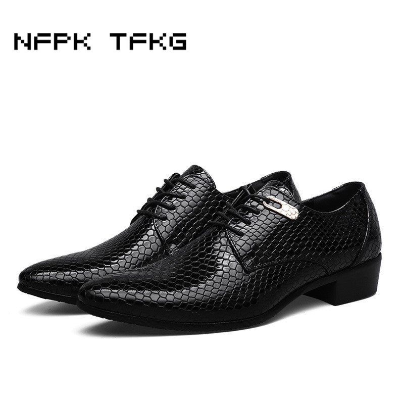 men s fashion business wedding dress snake print genuine leather shoes  casual pointed toe flats shoe oxfords party footwear man 31b2db358b8b