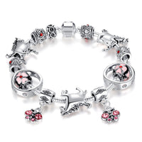 Luxury Vintage Silver Bead and Horse Charm Bracelet