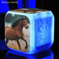 horse clock, alarm clock, horse image, horse breed, date and time