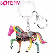 Pink Accent Horse Key Chain Key Ring Key Holder