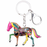 Multi Color Accent Horse Key Chain Key Ring Key Holder