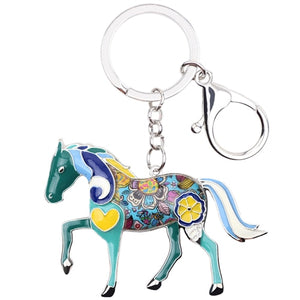 Teal Accent Horse Key Chain Key Ring Key Holder