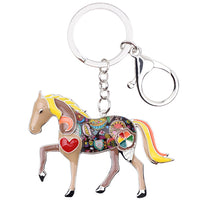 Beige Accent Horse Key Chain Key Ring Key Holder