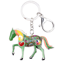 Green Accent Horse Key Chain Key Ring Key Holder