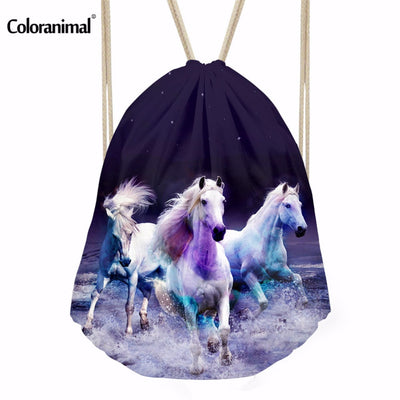 coloranimal horse drawstring bag