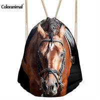 face forward horse head drawstring backpack