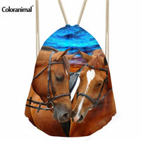 two horses drawstring bag for a gift