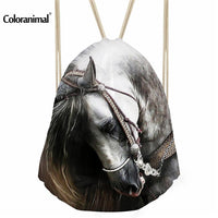 horse head bag with a drawstring to close