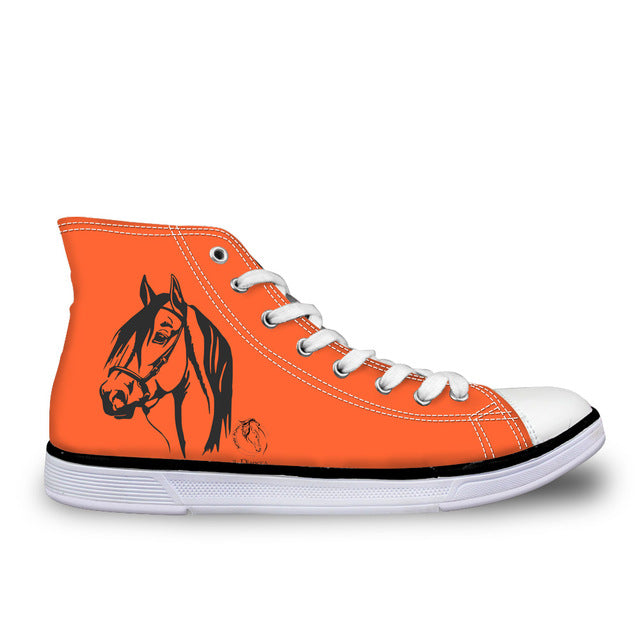 Electric Orange Lace Up Horse Image Women's Sneakers