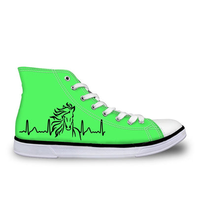 Lime Green High Top Horse Sneakers