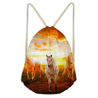 main horse in the sunset drawstring bag