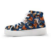Horse & Flower Ladies High Top Tennis Shoe - Color Options