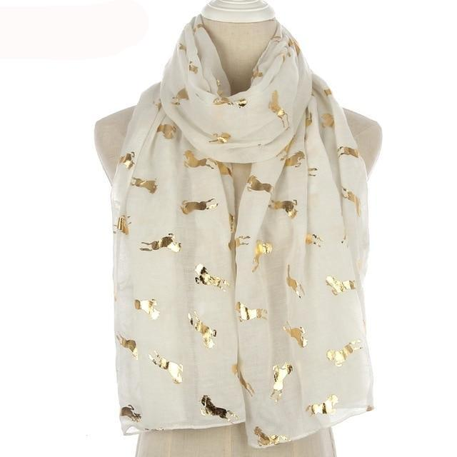 Ladies Gold Horse Accent Scarf